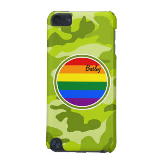 Rainbow Flag; bright green camo, camouflage iPod Touch (5th Generation) Cover