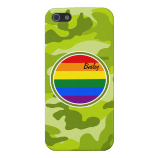 Rainbow Flag; bright green camo, camouflage Case For iPhone 5/5S
