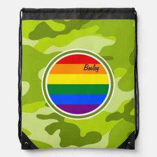 Rainbow Flag; bright green camo, camouflage Drawstring Bag