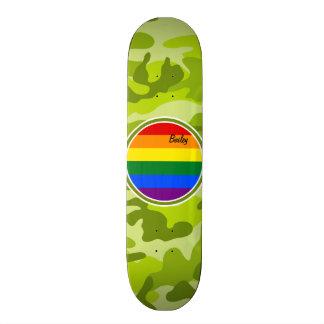 Rainbow Flag; bright green camo, camouflage Skateboard Deck