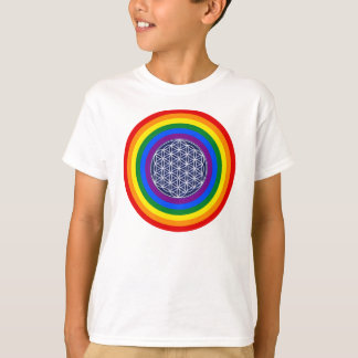 RAINBOW FLAG BUTTON + FLOWER OF LIFE T-Shirt