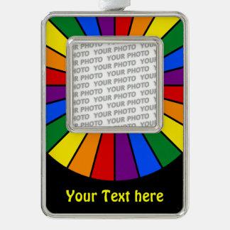 RAINBOW FLAG BUTTON RAYS + your photo & text Ornament