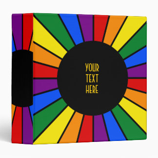 RAINBOW FLAG BUTTON RAYS + your sign or text Vinyl Binder