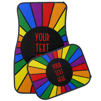 RAINBOW FLAG BUTTON RAYS + your sign or text Car Mat
