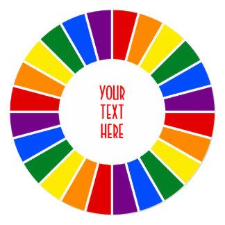 RAINBOW FLAG BUTTON RAYS + your sign or text Card