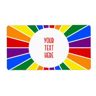 RAINBOW FLAG BUTTON RAYS + your sign or text Label