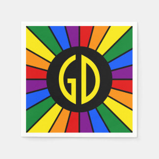 RAINBOW FLAG BUTTON RAYS + your sign or text Paper Napkin