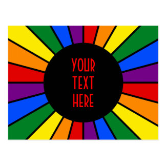RAINBOW FLAG BUTTON RAYS + your sign or text Post Card