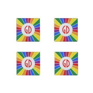 RAINBOW FLAG BUTTON RAYS + your sign or text Stone Magnet