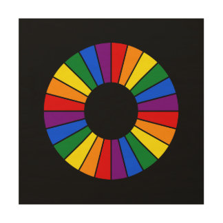 RAINBOW FLAG BUTTON RAYS + your sign or text Wood Wall Art