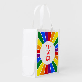 RAINBOW FLAG BUTTON RAYS + your sign or text Grocery Bag