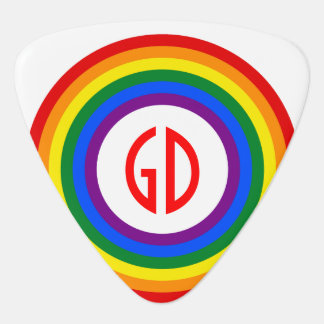 RAINBOW FLAG BUTTON + your sign or monogram Guitar Pick