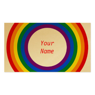 RAINBOW FLAG BUTTON + your sign or text Business Cards