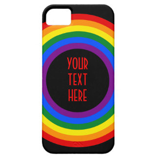 RAINBOW FLAG BUTTON + your sign or text iPhone 5 Case