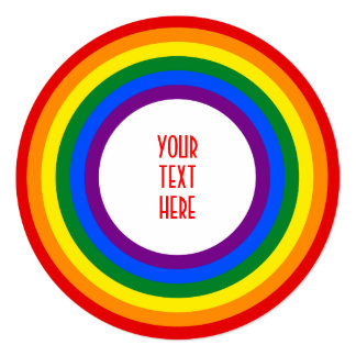 RAINBOW FLAG BUTTON + your sign or text 5.25x5.25 Square Paper Invitation Card