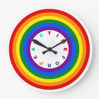 RAINBOW FLAG BUTTON + your sign or text Large Clock