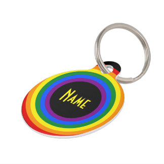 RAINBOW FLAG BUTTON + your sign or text Pet Name Tag