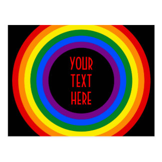 RAINBOW FLAG BUTTON + your sign or text Post Card