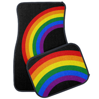RAINBOW FLAG BUTTON + your sign or text Car Mat