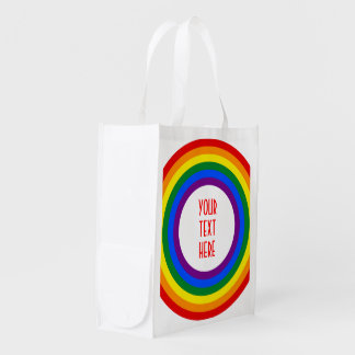 RAINBOW FLAG BUTTON + your sign or text Grocery Bags