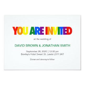 Rainbow Flag Colors Gay Wedding Invitations