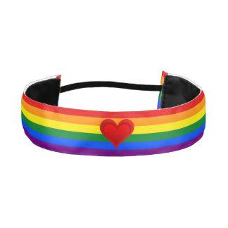 RAINBOW FLAG COLORS & red heart + your ideas Athletic Headband