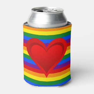 RAINBOW FLAG COLORS & red heart + your ideas Can Cooler