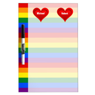 RAINBOW FLAG COLORS & red heart + your ideas Dry Erase Board
