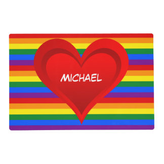 RAINBOW FLAG COLORS & red heart + your ideas Placemat