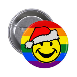 RAINBOW FLAG COLORS & santa claus smiley Button