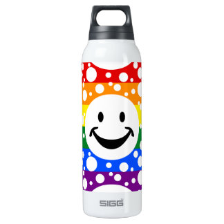 RAINBOW FLAG COLORS & smiley + your ideas 16 Oz Insulated SIGG Thermos Water Bottle