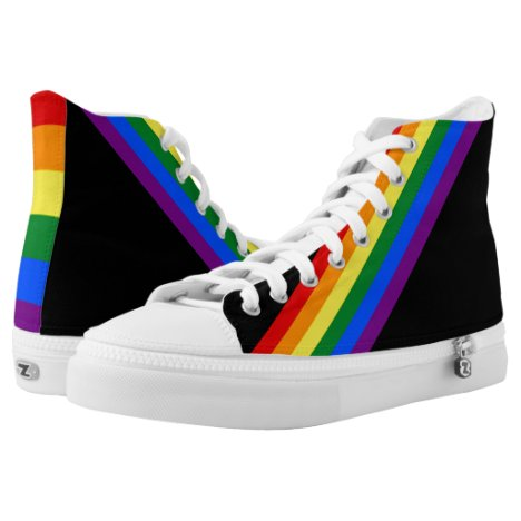RAINBOW FLAG COLORS + your ideas High-Top Sneakers