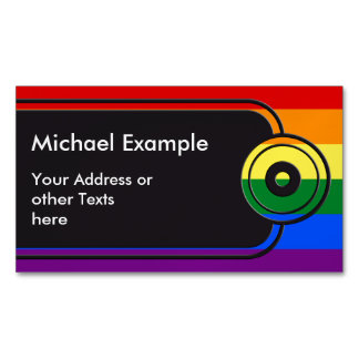RAINBOW FLAG COLORS + your text & ideas Magnetic Business Card