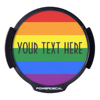 RAINBOW FLAG COLORS + your text LED Window Decal