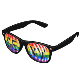 RAINBOW FLAG COLORS + your text or sign Retro Sunglasses