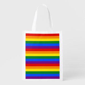 RAINBOW FLAG COLORS REUSABLE GROCERY BAG