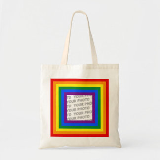 RAINBOW FLAG FRAME + your sign or image Tote Bag