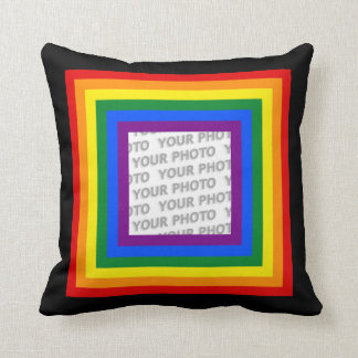 RAINBOW FLAG FRAME + your sign or image Pillow
