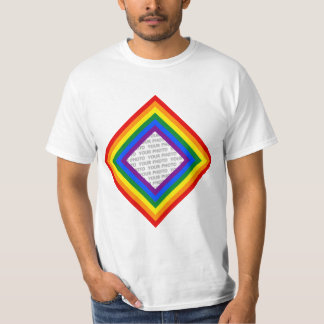 RAINBOW FLAG FRAME + your sign or image Tshirts