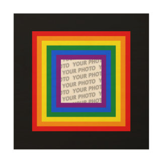 RAINBOW FLAG FRAME + your sign or image Wood Wall Art