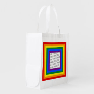 RAINBOW FLAG FRAME + your sign or image Market Totes