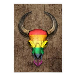 Rainbow Flag Gay Pride Bull Skull on Wood Effect Card