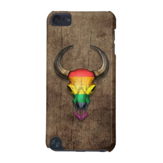 Rainbow Flag Gay Pride Bull Skull on Wood Effect iPod Touch (5th Generation) Case
