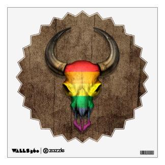 Rainbow Flag Gay Pride Bull Skull on Wood Effect Wall Sticker