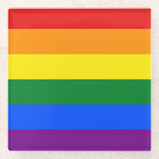 Rainbow Flag Glass Coaster