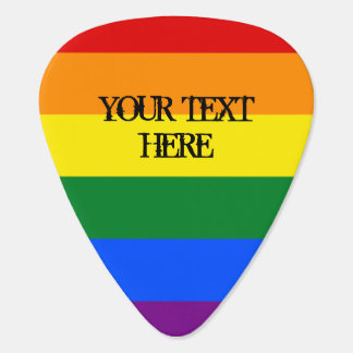 Rainbow flag guitar pick with personalized text
