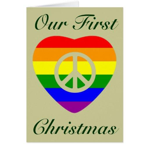 Rainbow flag heart Gay Marriage First Christmas Greeting Card