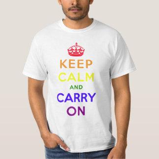 Rainbow flag keep calm and carry on. tee shirt