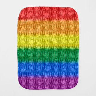 Rainbow Flag knitting Stripes seamless pattern Burp Cloth