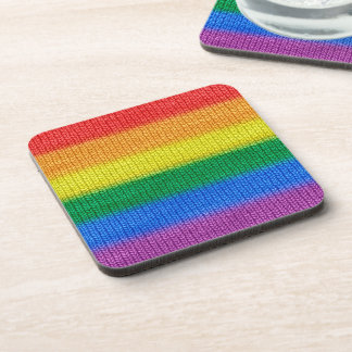 Rainbow Flag knitting Stripes seamless pattern Drink Coaster